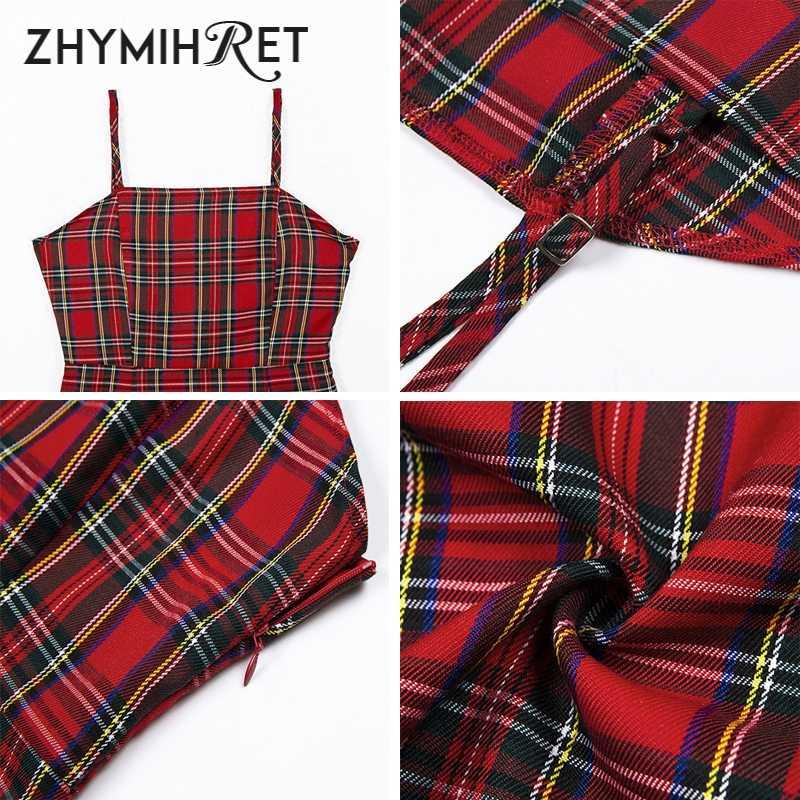 ZHYMIHRET винтажное красное клетчатое мини-платье на бретельках для женщин в английском стиле летние пляжные платья пляжное облегающее платье