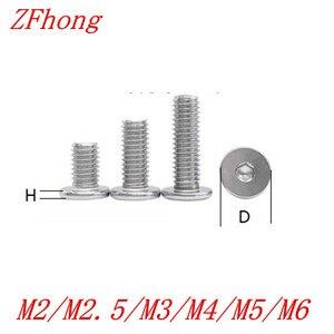 10/50pcs CM M2 M2.5 M3 M4 M5 M6 304 stainless steel Hex Hexagon Socket Ultra Thin Super Low Flat Wafer Head Allen Cap Screw Bolt(China)