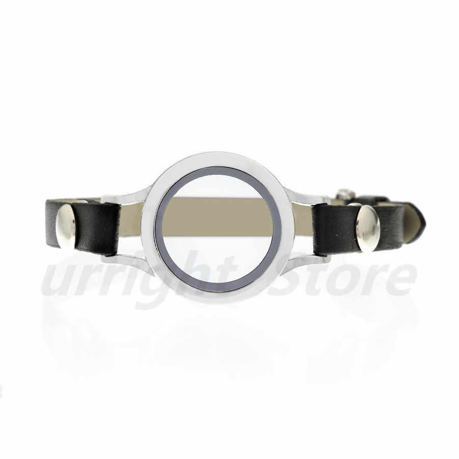 Popüler yuvarlak büküm dişli vidalı üst cam oturma hatıra madalyon bilezik deri şal bilezik fit yüzer locket charms