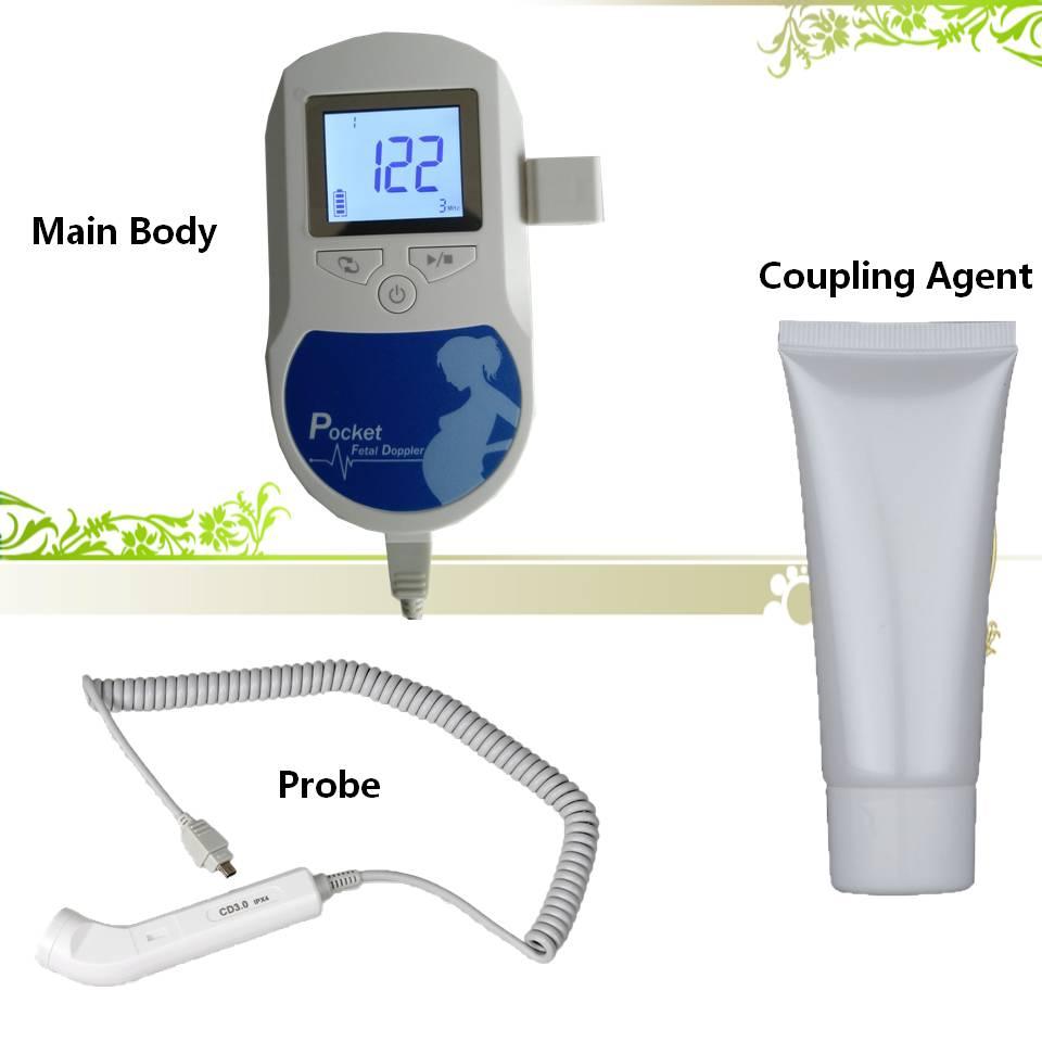 Fetal Doppler 3.0MHz Ultrasound Baby Heartbeat Detector Home Pregnant Doppler Baby Heart Rate Monitor Hand-hold Pocket Doppler