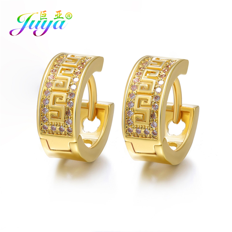 Juya Handmade Hoop Earrings Supplies Micro Pave Zircon Gold/Silver Color Earrings For Women Christams Evening Jewelry Earrings
