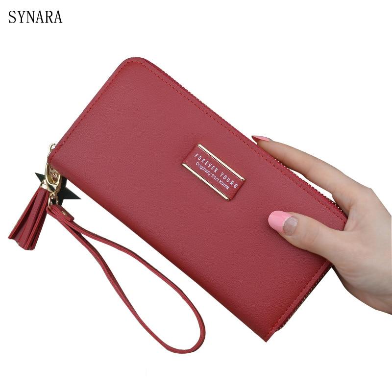 купить Brand New 2018 Fashion Women Wallet Tassel long Wallets Large Capacity Zipper Ladies Bag Purse Money Female Credit Card по цене 506.58 рублей