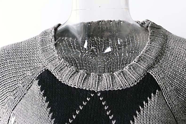 Printemps Femme Chandail Nouveau Lâche Couture Couleur Correspondant Manches Diamant Pull Occasionnel Fermeture Gris 2019 Éclair Treillis nPwk8O0