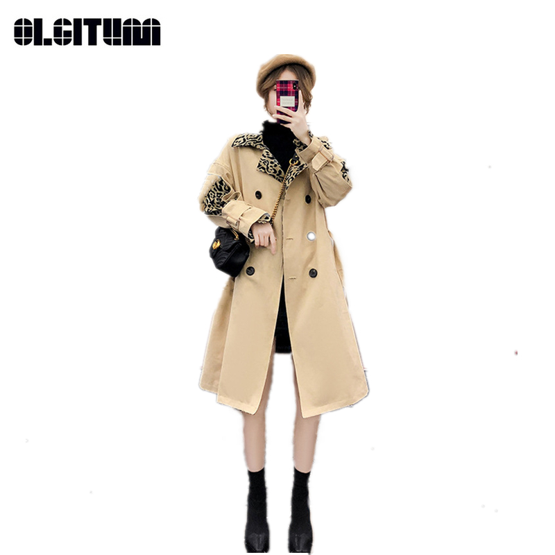 New Spring/Autumn Fashion Leopard/Plaid Pattern Windbreaker Female 2018 Long Loose Over-knee Multi-color Women   Trench   Outwear