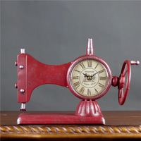Creative Retro Sewing Machine Alarm Clock Retro Iron Watches Desk Station Clock Silent Quartz Alarm Clock Home Decoration