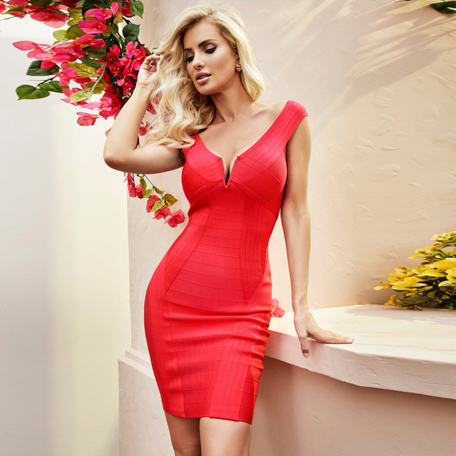 0d8d376ee7eb Sexy Rayon Bandage Mini Dress Red Black Off Shoulder V Neck Sleeveless Cold  Shoulder Solid Color Bodycon Sheath Dress