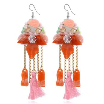 XIUFEN Women Fashion Long Tassels Crystal Shellfish Flower Shape Dangle Earrings