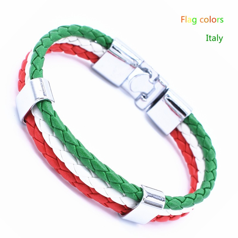 Wholesale Length 21cm 3 Strands Rope Braided Leather Chain & Link Bracelet Men Wristband National Flags Color Sports Bracelets 4