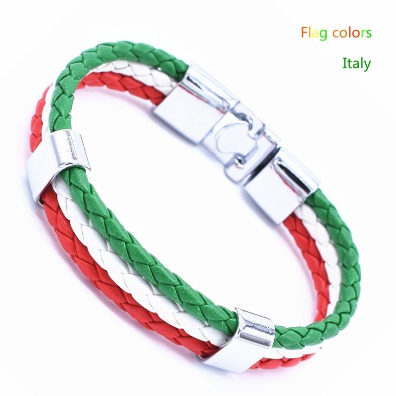 Wholesale Length 21cm 3 Strands Rope Braided Leather Chain & Link Bracelet Men Wristband National Flags Color Sports Bracelets 4