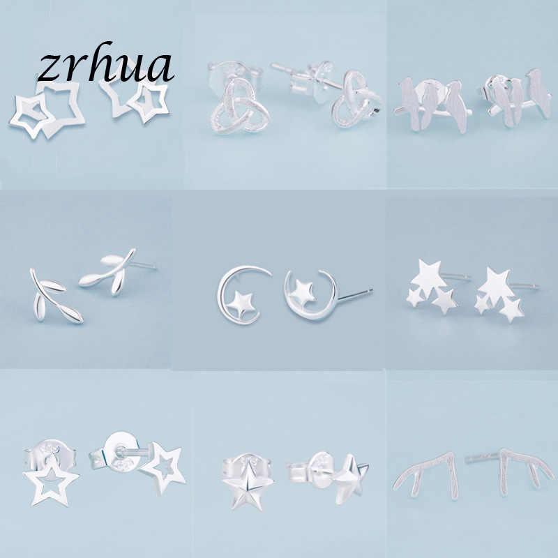 ZRHUA ใหม่ล่าสุด 925 เงินน่ารัก Elegant ต่างหูสำหรับขนาดเล็กของขวัญขายร้อน 925 แสตมป์เครื่องประดับหญิง PARTY brincos