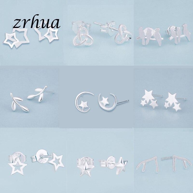 Zrhua mais novo 925 brincos de prata bonito elegante do parafuso prisioneiro para as meninas femininas pequenos presentes venda quente 925 selo jóias feminino festa brincos