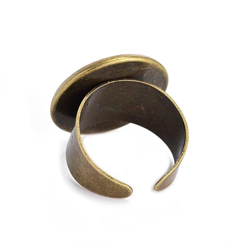 10Pcs Fitting 16mm 20mm 25mm Round Glass Cabochon Adjustable Base Bezel Base Setting Ring Blanks For DIY Making