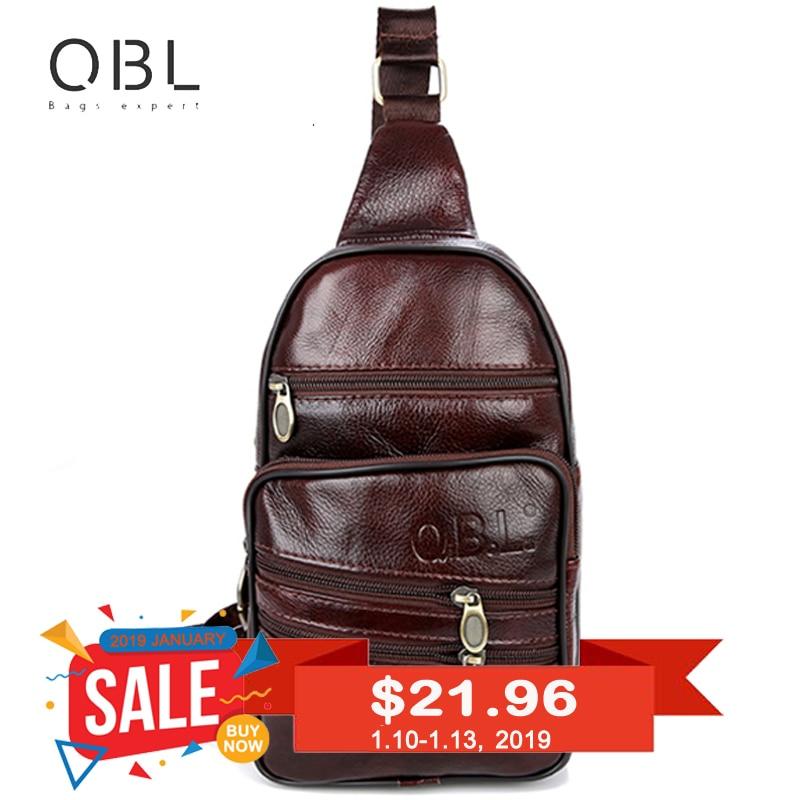 """""""QiBoLu"""" natūralios odos vyriškos rankinės krepšys Vieno peties maišelio vyrams krūtinės pakuotės siuntėjo maišelis žmogui Bolsas Masculina MBA37"""