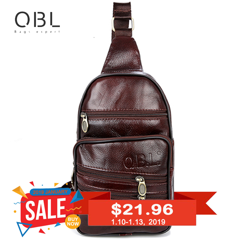 QiBoLu עור אמיתי Mens קלע תיק תיק כתף אחד גברים חזה Pack Messenger Crossbody תיק עבור גבר Bolsas Masculina MBA37