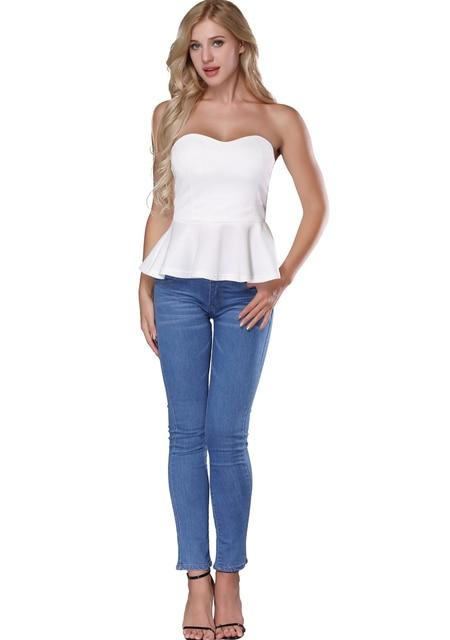 b563ea9ac289bc White Off Shoulder Top - Fashion Peplum Tops Sleeveless Ruffle Hem Crop Tops  For Women S