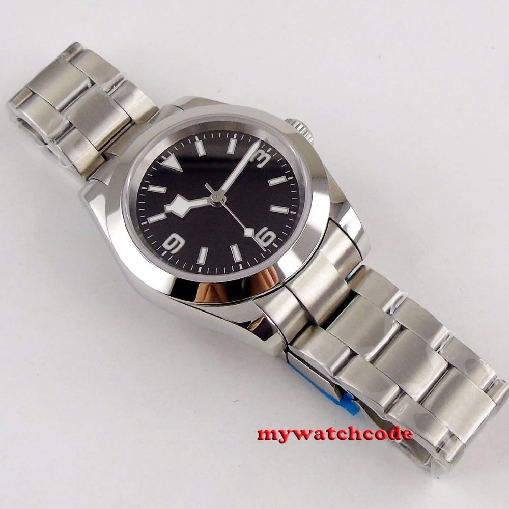 40 мм bliger стерильный черный циферблат Снежный хлопья ручной стальной твердый чехол сапфировое стекло автоматические мужские часы B201 - 6
