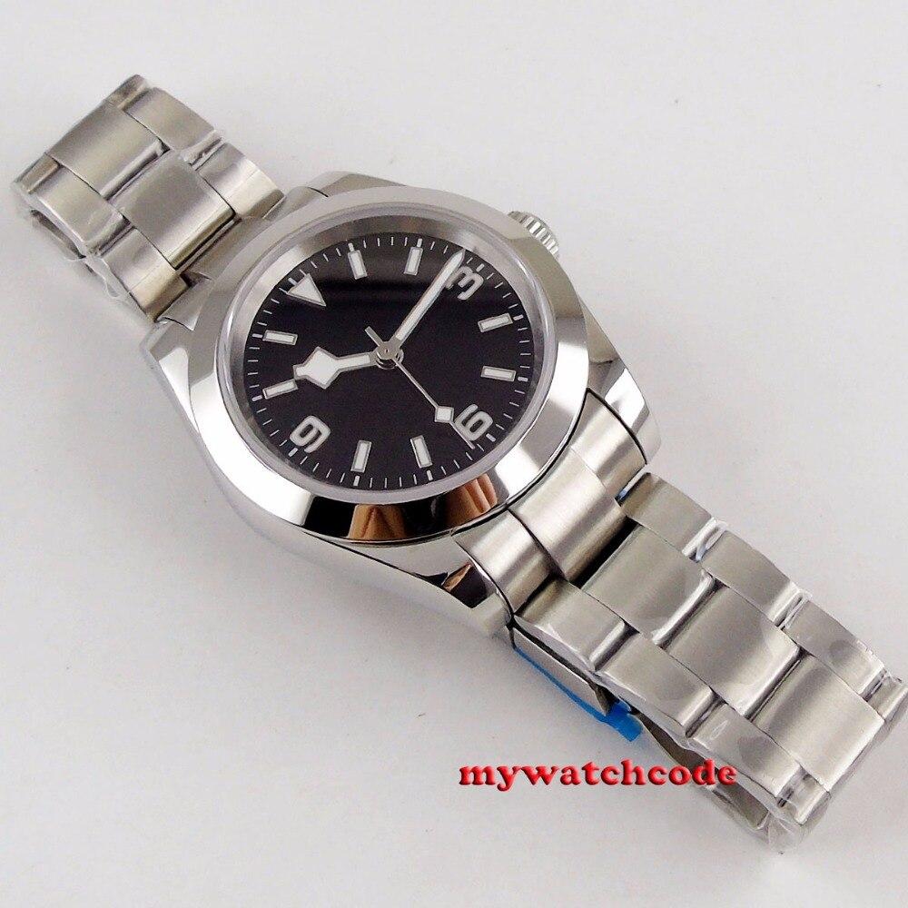 40mm bliger estéril mostrador preto floco de neve mão aço caso sólido vidro safira automático relógio masculino b201 - 6