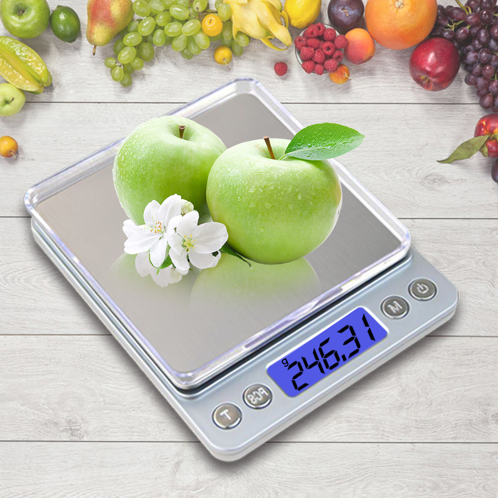 500g X 0.01g Mini Electronic Food Scale USB Charge Kitchen Jewelry Weight Balance Pocket Case Postal Digital Scale With 2 Tray