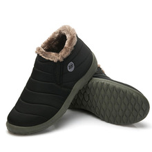 FONIRRA Men Snow Boots Solid Color Warming Fabric Slip-on Ankle Boots for Male Winter Outdoor Shoes Plus size 38-48 261