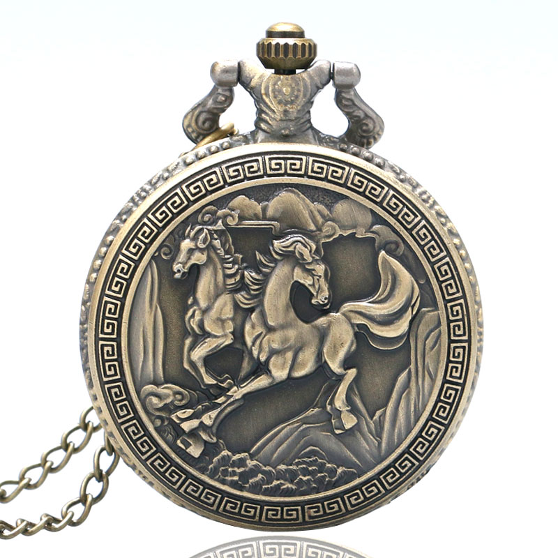 Retro Bronze Double Horses Design Chinese Style Quartz Pocket Watch With Necklace Chian Gift Drop Shipping