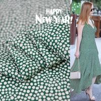 Green Polka Dot Fabric Silk Double Georgette Anti Winkle
