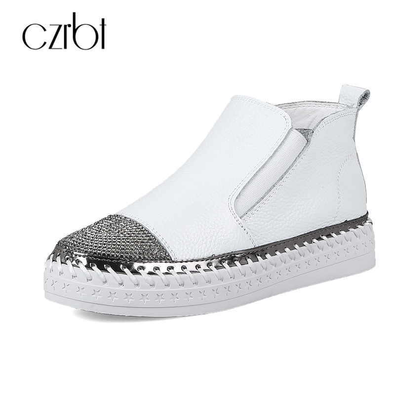 CZRBT Genuine Cow Leather Women Shoes 2018 Concise Crystal Round Toe Loafers High Quality Handmade Women Flat Shoes Casual Flats genuine cow leather spring shoes wedges soft outsole womens casual platform shoes high heel round toe handmade shoes for women