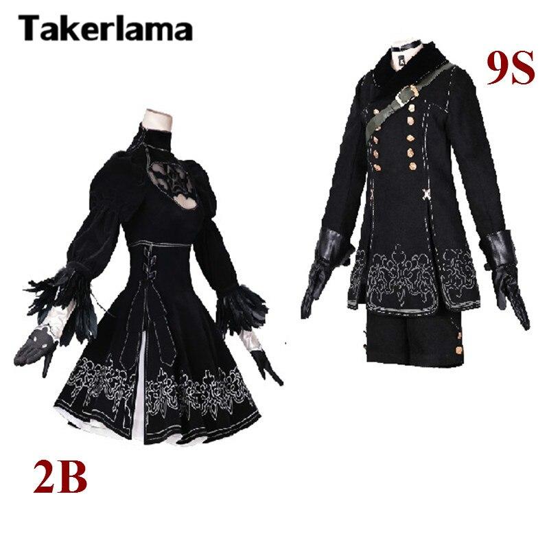Takerlama 2B 9S Nier Automata 2B Cosplay YoRHa No 2 Type B Uniforms Cosplay Costume Full