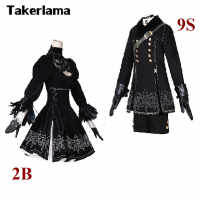 Takerlama 2B 9S Nier Automata 2B Cosplay YoRHa No.2 Type B Uniforms Cosplay Costume Full Set High Quality