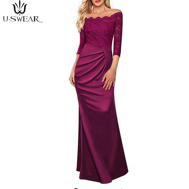 U-SWEAR summer elegant formal long dress women 2018 floor-length sexy  wedding evening party ceremony prom plus size dresses robe 4605b5d14e5c