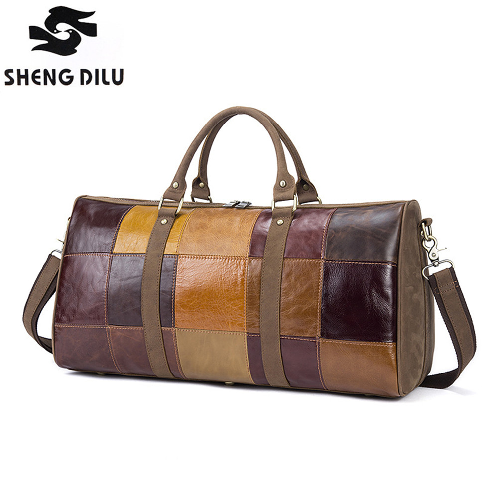 Vintage Genuine Leather Duffle Bag For Men Leather Luggage