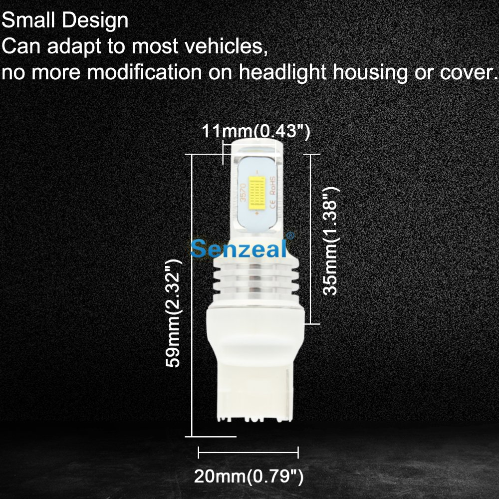 SENZEAL 2pcs 72W T20 7440 Car LED CSP 3570 1000Lm W21W Reverse Lights 12 24V Auto Bulbs Car Turn Signal Lights Back Up LED Lamps in Signal Lamp from Automobiles Motorcycles