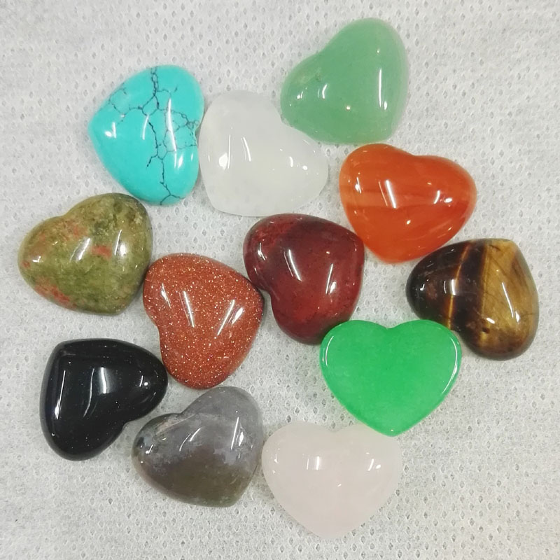 fashion 18MM mixed Heart shaped cab cabochon natural stone beads for making Jewelry Charm 24Pcs/lot Free shipping Wholesale