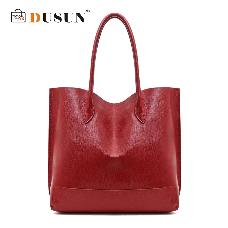 DUSUN 2018 New Casual Ladies Handbags Women Genuine Leather Large Totes Messenger Bag Hign Quality Designer Luxury Brand Red Bag цена