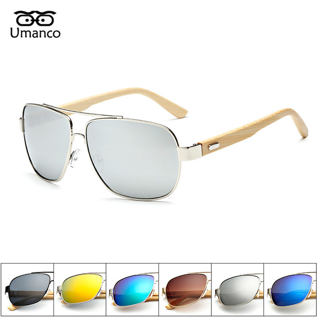 Umanco D origine Bois lunettes de Soleil Femmes Hommes Vintage Bambou Pied Soleil  Lunettes Rétro 4eae74cfaa62