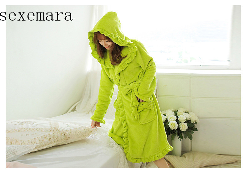 2019 sexemara new arrival fashion women sleeping cloth feel comfortable flannel Fruit green Bow flower lace  free shipping