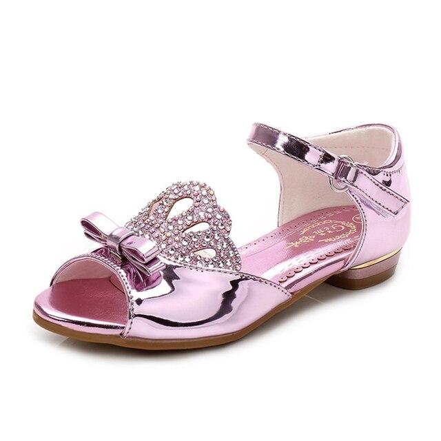 71a7e3416 Обувь для девочек Танцы Обувь модная детская Сандалии для девочек со  стразами и бантом корона принцессы