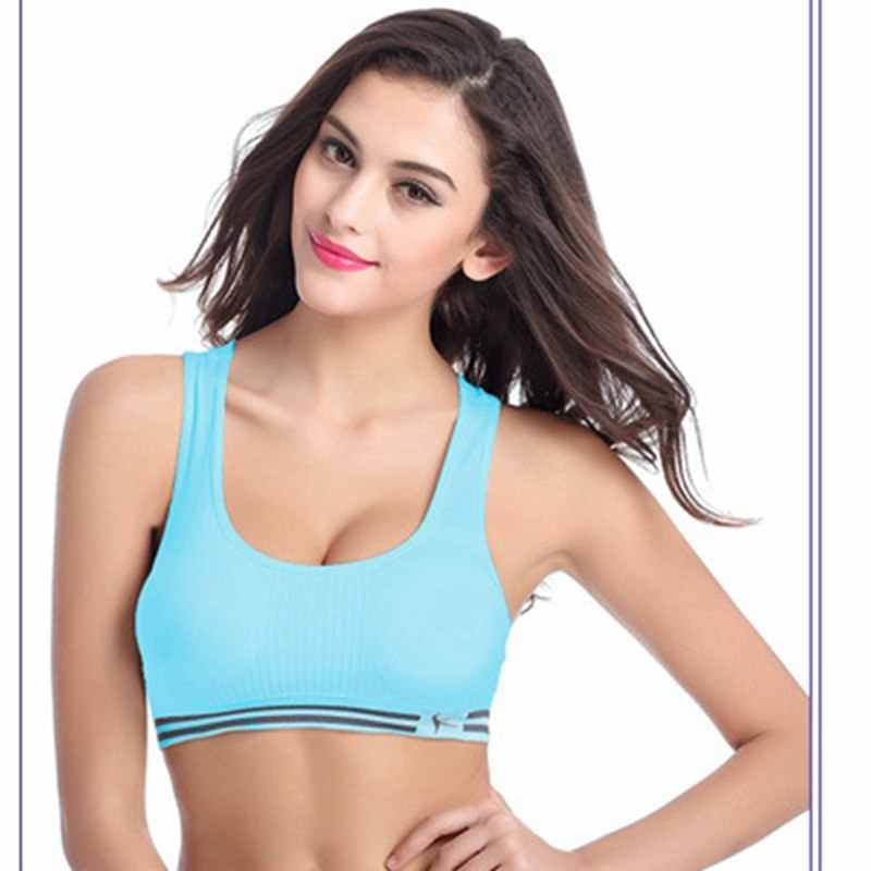 26be5a0fb9 ... High Stretch Breathable Gray Sports Bra Fitness Women Padded Yoga  Running Exercise Gym Seamless Crop Top