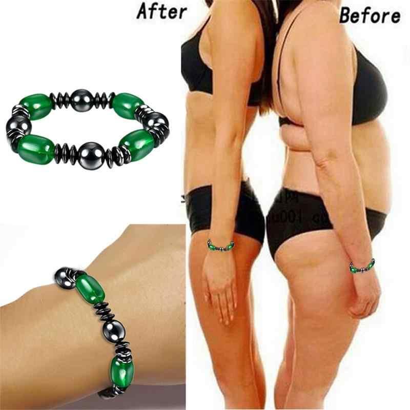 1 Pc utrata wagi okrągły czarny kamień magnetyczna bransoletka lecznicza opieki zdrowotnej magnetyczne hematyt Stretch bransoletka dla mężczyzn kobiety