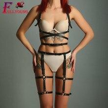 Fullyoung Sexy 2PCS Sets Women Bondage Leather Garter Waist Suspenders Leg Cage  Adjustable Dark Rock Street Strap