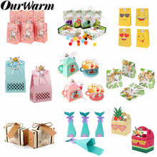 OurWarm Paper Candy Gift Box Bags Pineapple Fruit Dessert Baby Gifts Party Favor for Guest Wedding Birthday Decoration