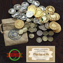 Banco Gringotts monedas del mundo de magos de Cosplay 1 piezas billete del Expreso de Hogwarts como regalo(China)