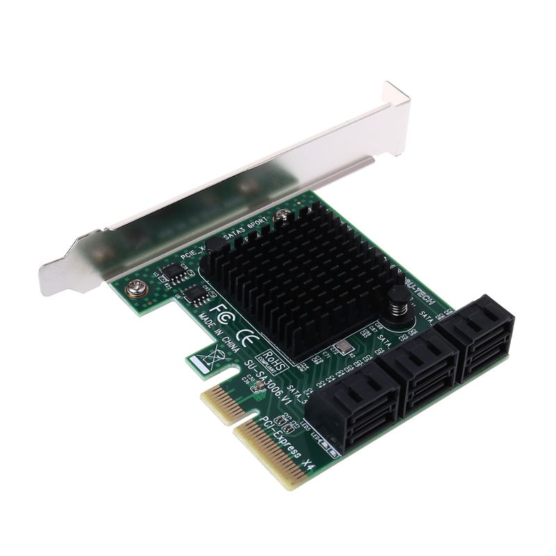 PCI e PCI Express to SATA 3.0 III 3 SSD PCIe 8 Ports Expansion Board Card Adapter Raiser Low Profile Bracket