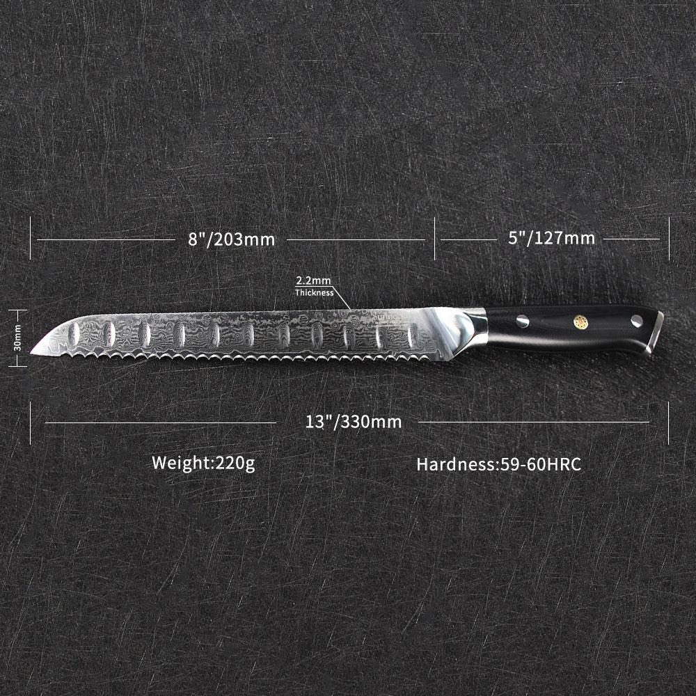 "SUNNECKO Professionele 8 ""inch Brood Mes Damascus Japanse VG10 Staal Blade Cake Cutter Keukenmessen G10 Handvat Koken Tool-in Keukenmessen van Huis & Tuin op  Groep 2"