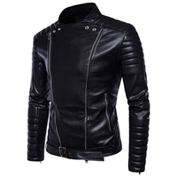 Unique Design Style Youth Men Black Long sleeved PU Leather Jackets Size 5XL High end Mens Fall Winter Fashion Motorcycle Coats