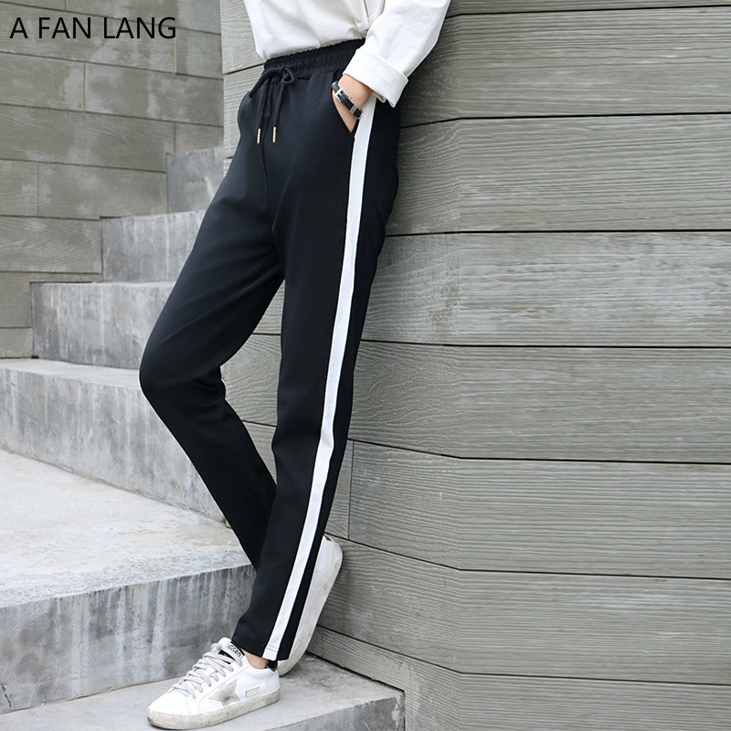 Harem Pantalones Mujer La xxl Otoño lang Streetwear S Black Mujeres Ventilador De Tira E Deportes Rayados Con Pantalones Casuales Un qwfRXPWA