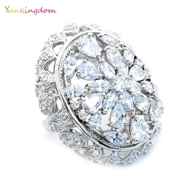 533c198734f54 Yunkingdom anillos mujer oval fashion engagement wedding rings for women  big cubic zirconia fine ring jewelry 2018 -in Rings from Jewelry & ...