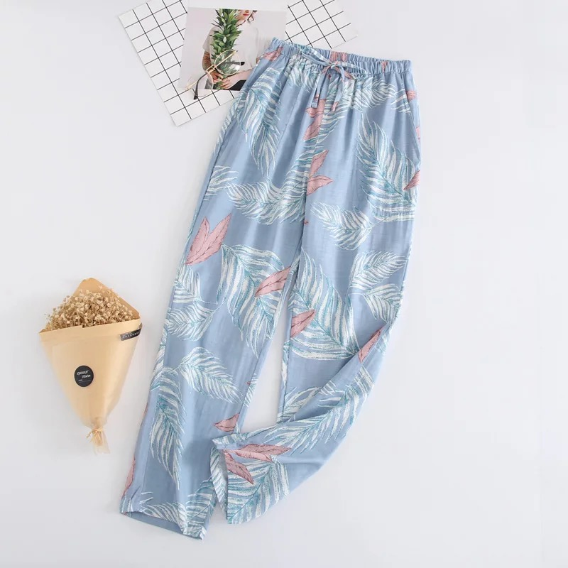 Ladies Sleeping Pants Gauze Cotton Floral Print Grid Stripe Variety Styles Sleep Bottoms Trousers Soft Pants Household Wear