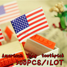 freeshipping wholesale American National Day American Flag Bar Decorative Cocktail Fruit Cupcake Cake Toothpick Party Decoration