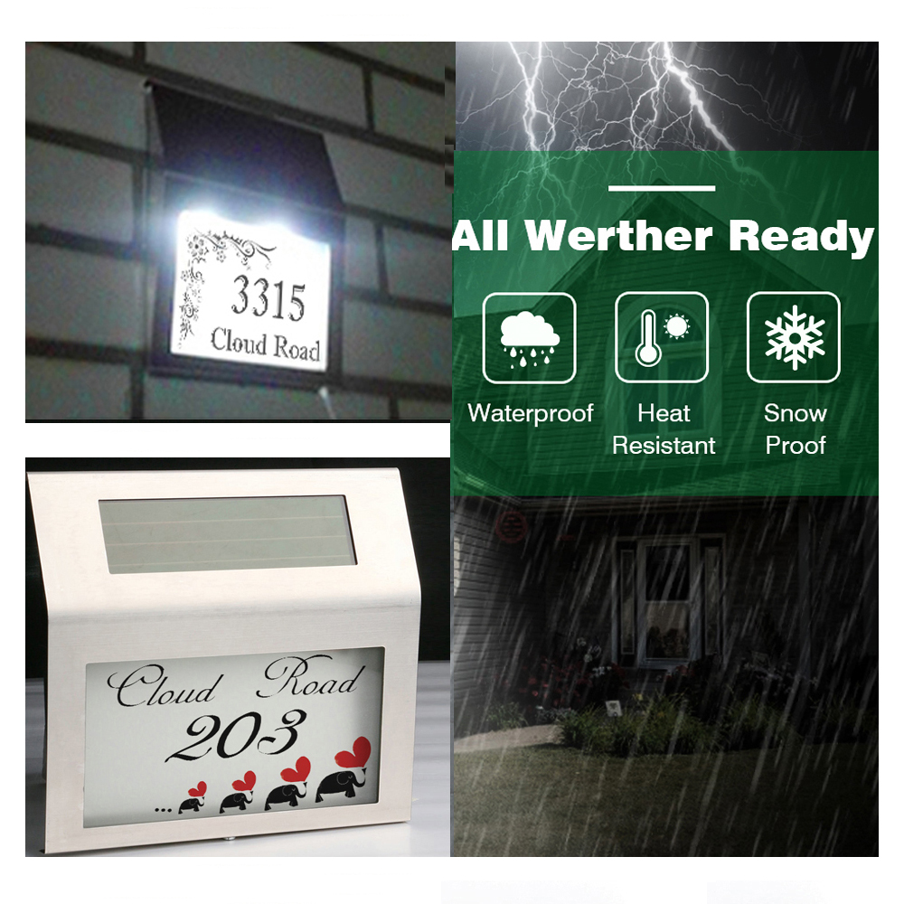 Stainless Steel 2 Led Solar Address Sign House Number