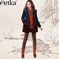 Artka Moda feminina Outono Inverno Do Vintage Outerwear Casaco Com Capuz Manga Comprida Patchwork Bordado Midi MA10947D